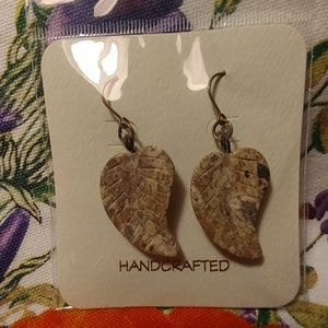 Carved natural stone earrings